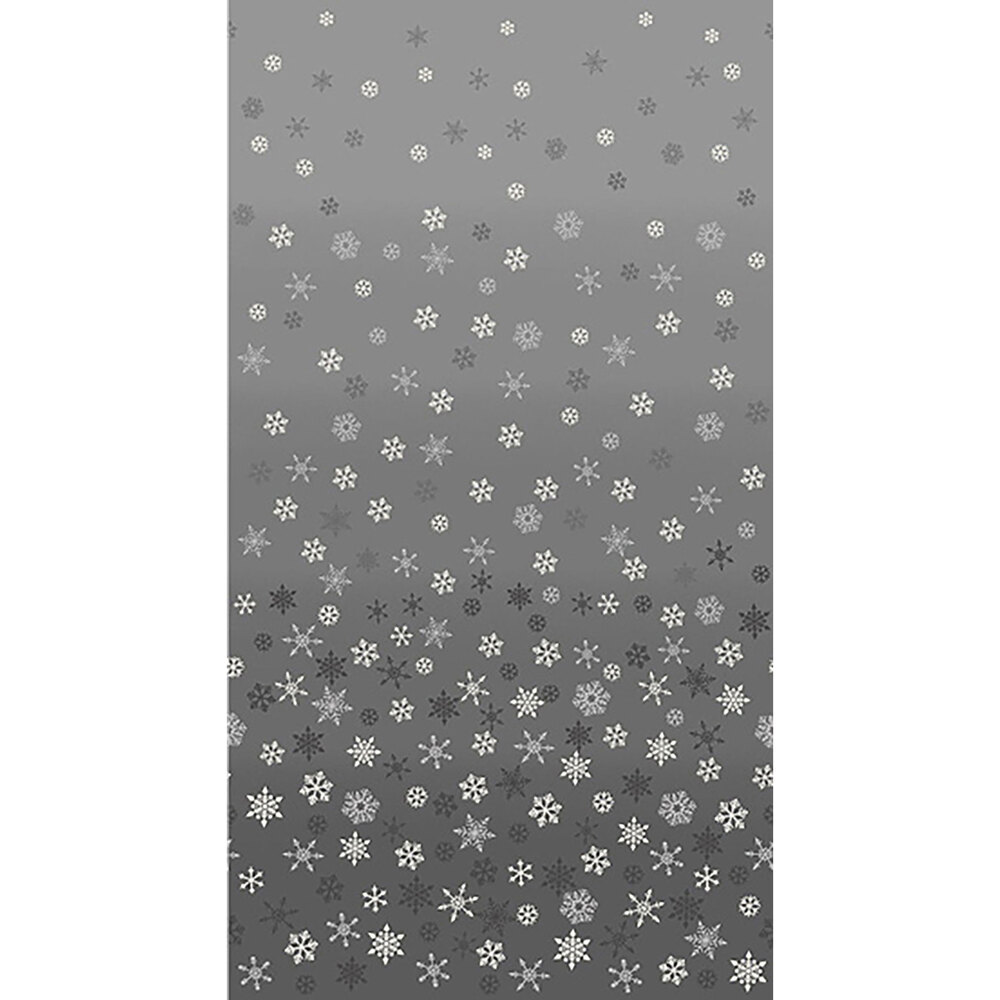 Gray ombre fabric with white snowflakes all over