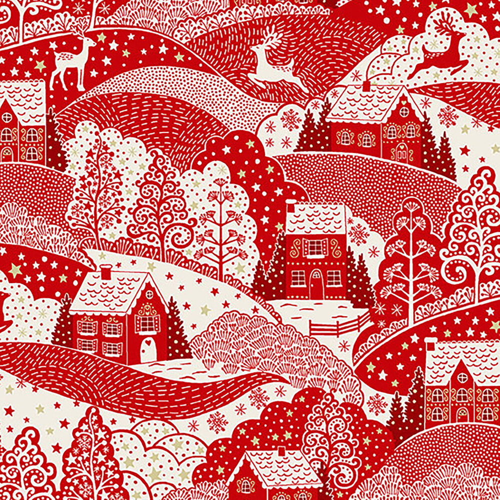 Red cottages and reindeer in the hills