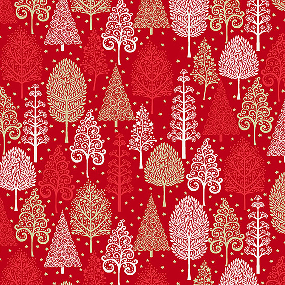 Tree designs on a red background