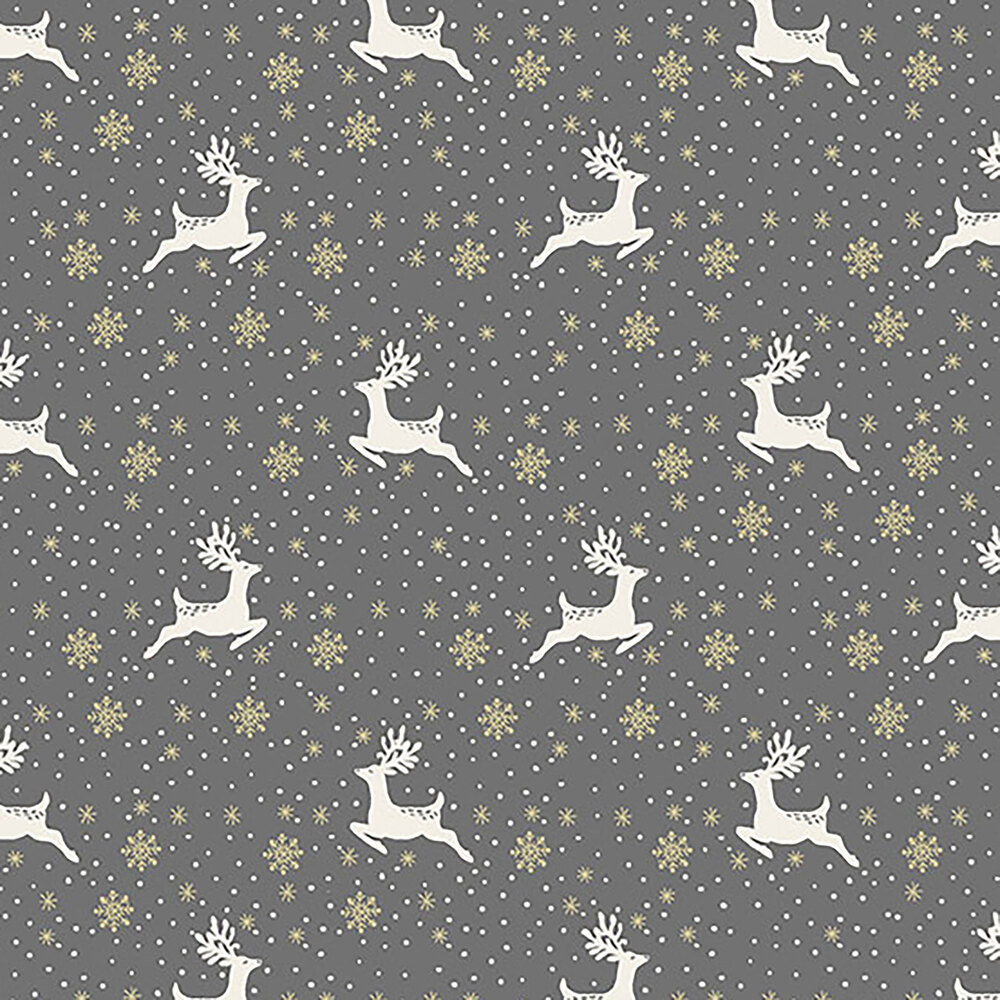 Reindeer and snowflakes on a red background
