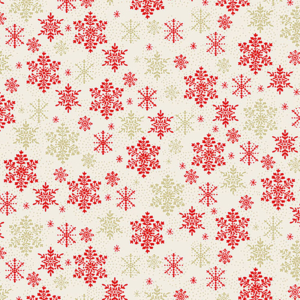 Red snowflakes on a white background