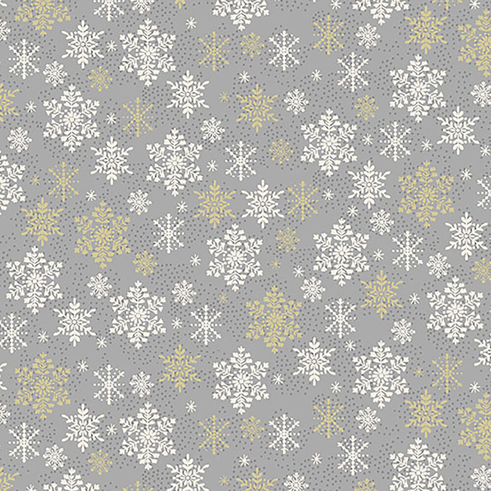 Red snowflakes on a gray background