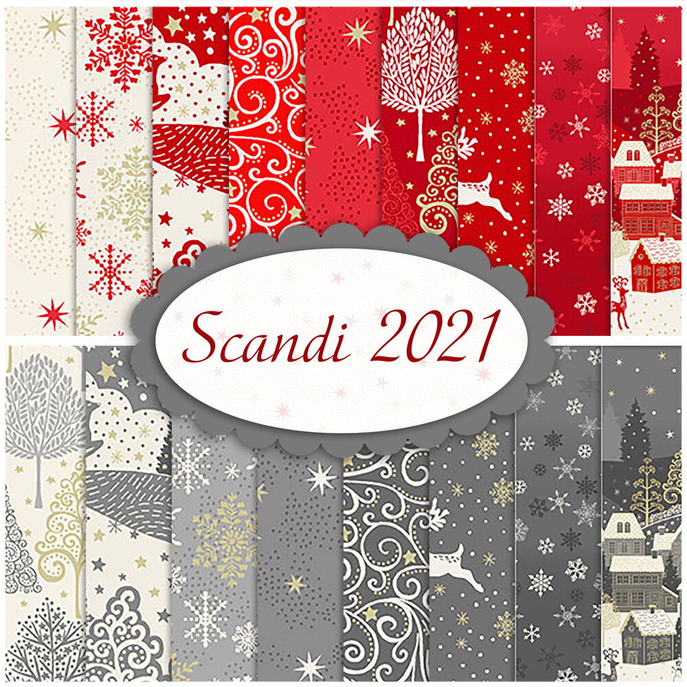 A collage of fabrics from the Scandi 2021 fabric collection