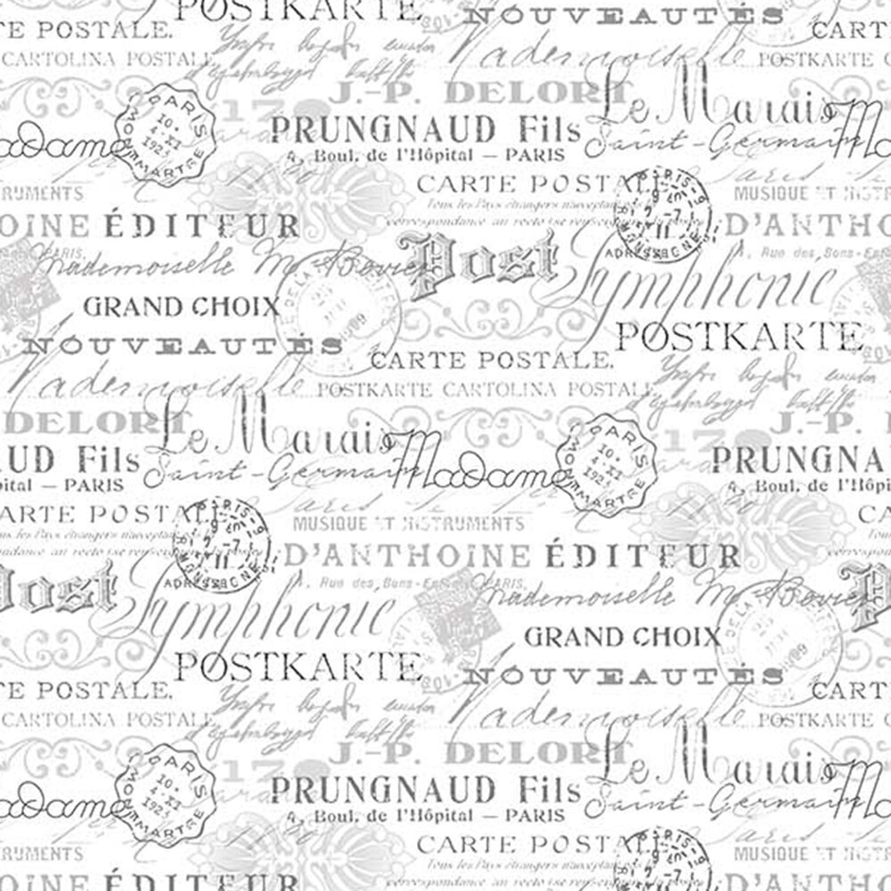 Stamps and words all over white | Shabby Fabrics