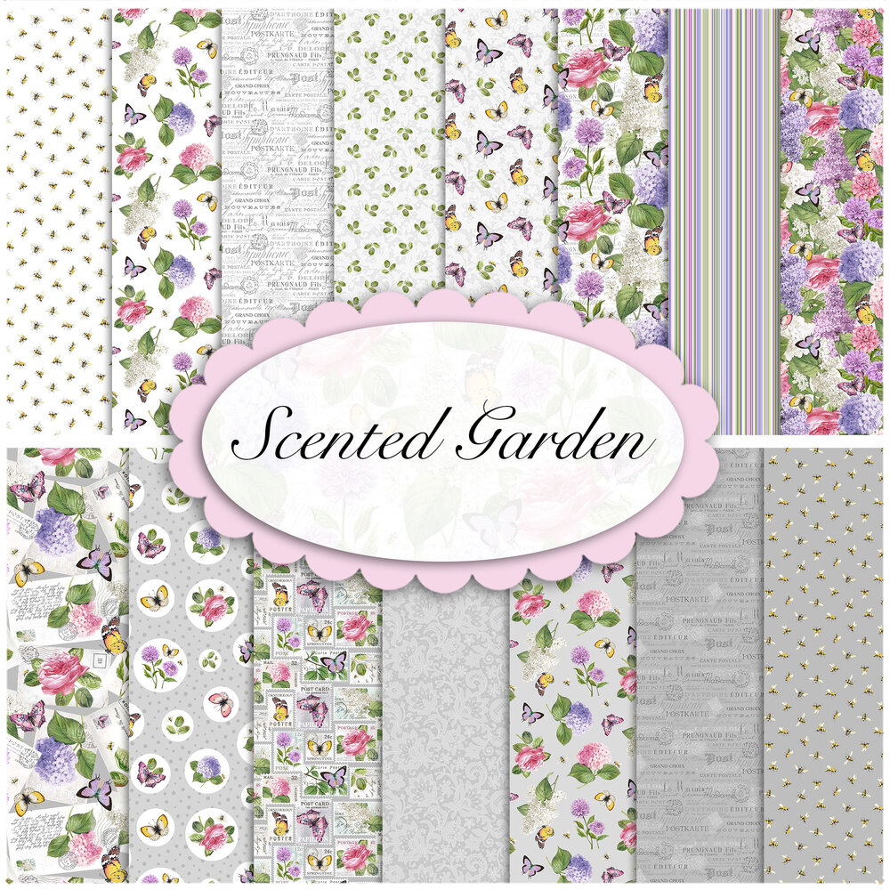 A collage of fabrics featured in the Scented Garden collection | Shabby Fabrics
