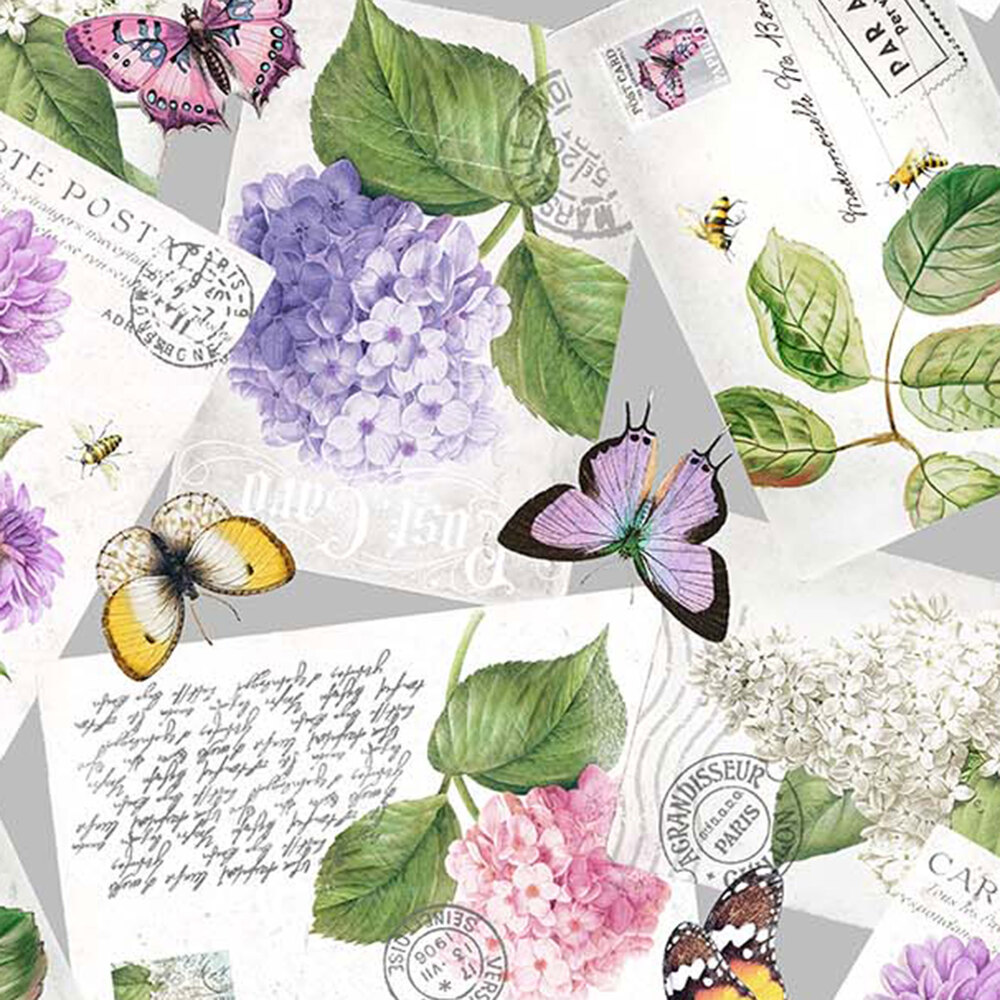 Envelopes with butterflies and florals all over gray | Shabby Fabrics