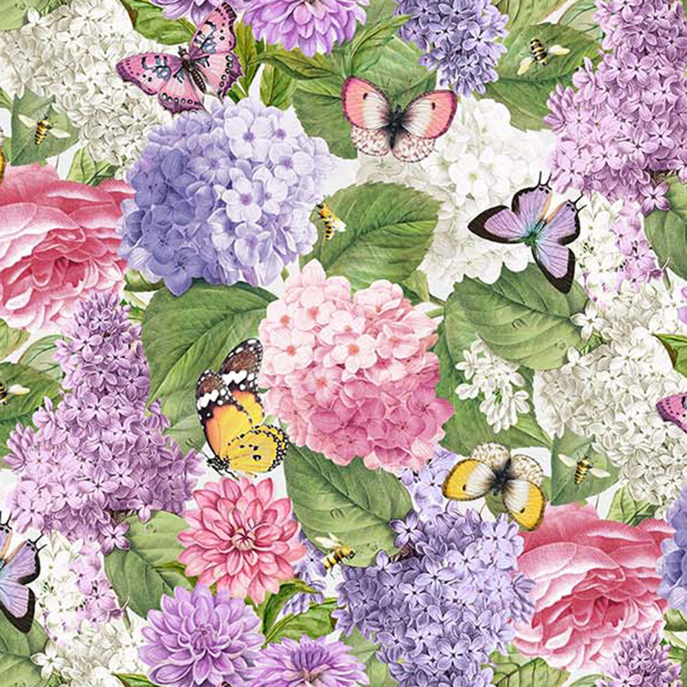 Pink and purple florals with yellow and purple butterflies clustered together | Shabby Fabrics