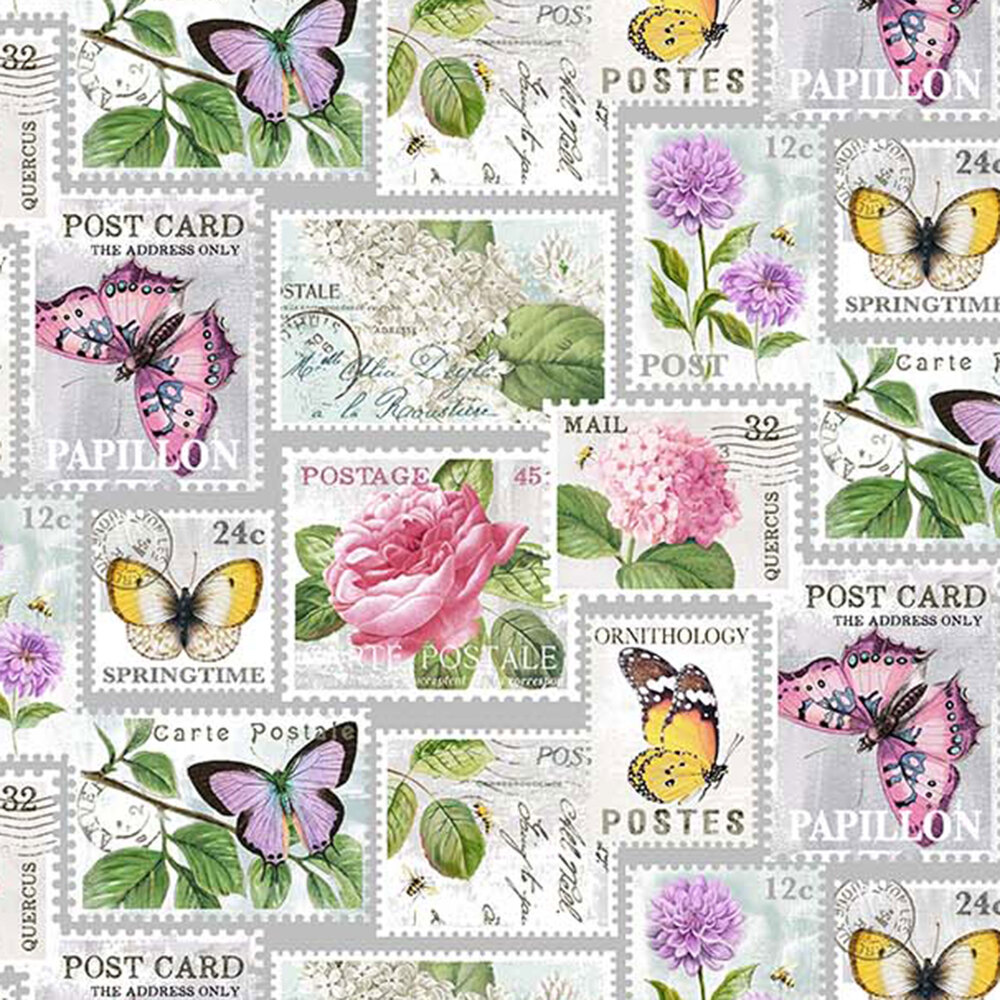 butterflies and flowers on stamps on gray | Shabby Fabrics