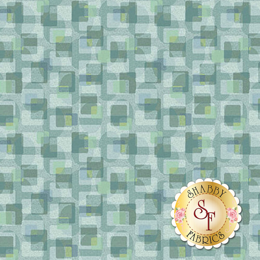 Light blue and teal geometric shapes all over | Shabby Fabrics