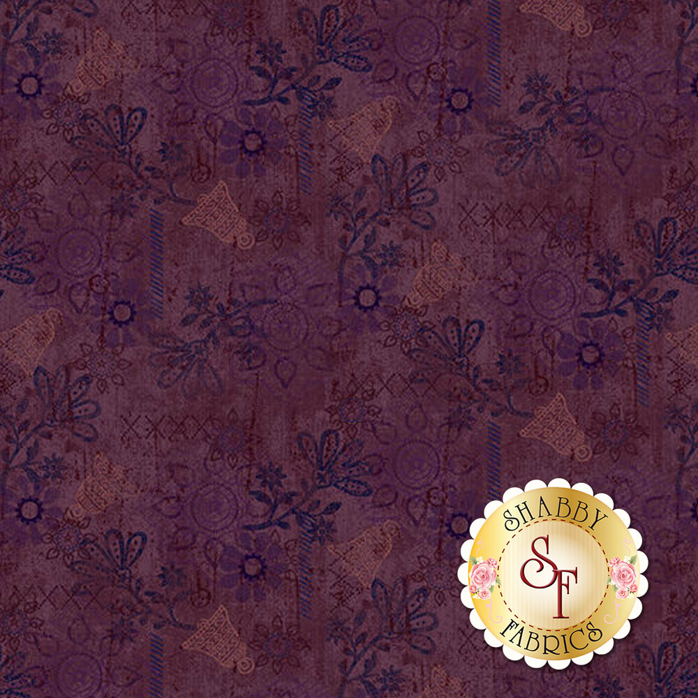 Bells, texture, and medallions all over a dark purple background | Shabby Fabrics