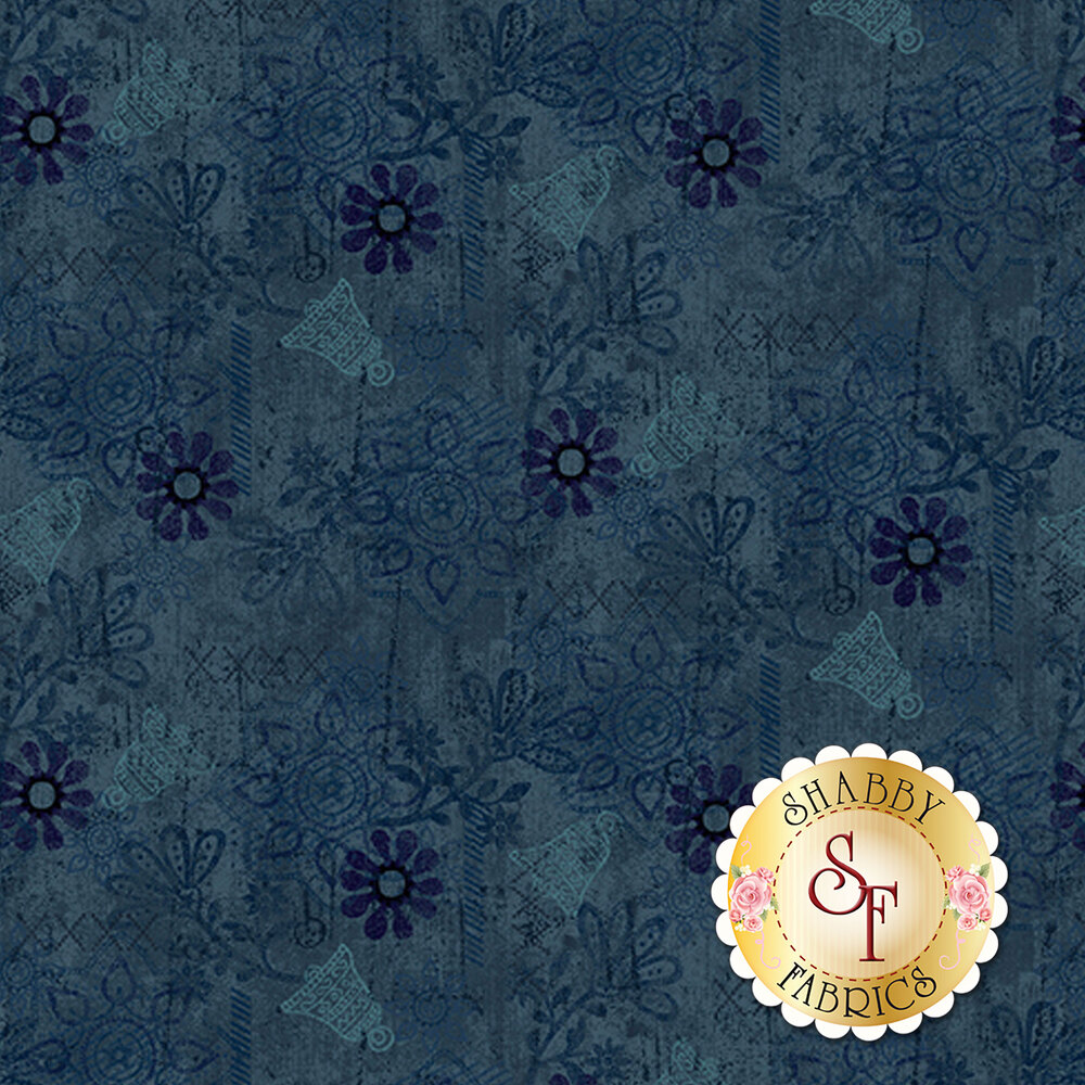 Bells, texture, and medallions all over a dark blue background | Shabby Fabrics