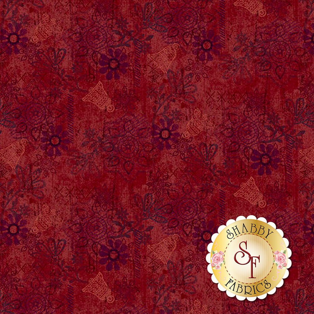 Bells, texture, and medallions all over a red background | Shabby Fabrics