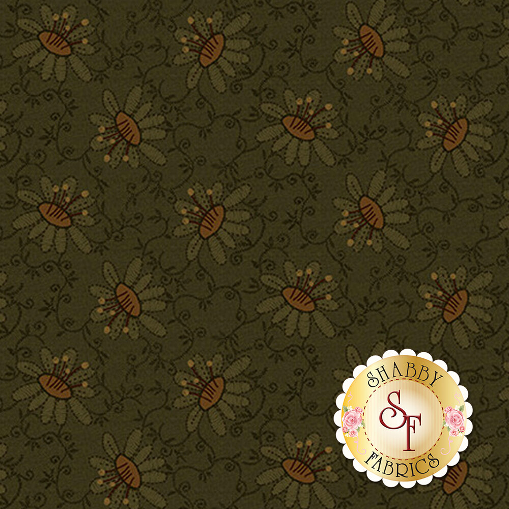 Vintage flowers and vines on a green background   Shabby Fabrics