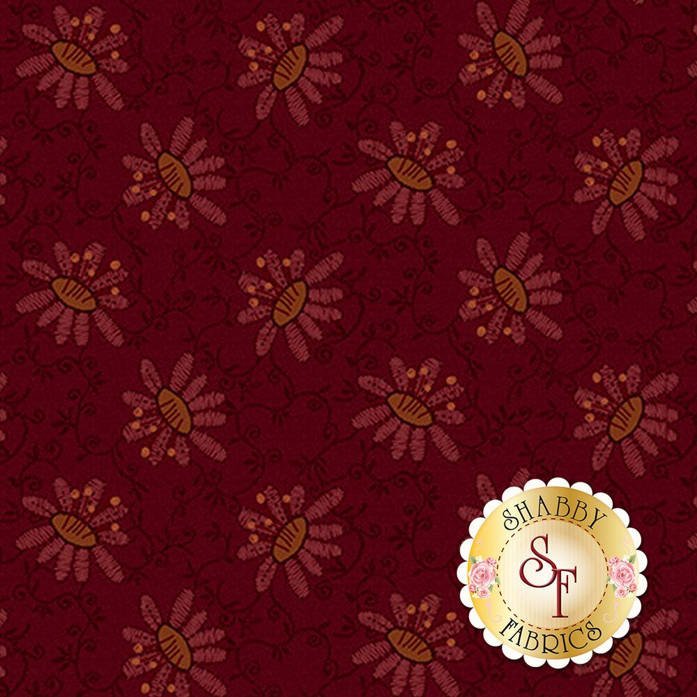 Tonal red flowers on a dark red background with small yellow dots | Shabby Fabrics