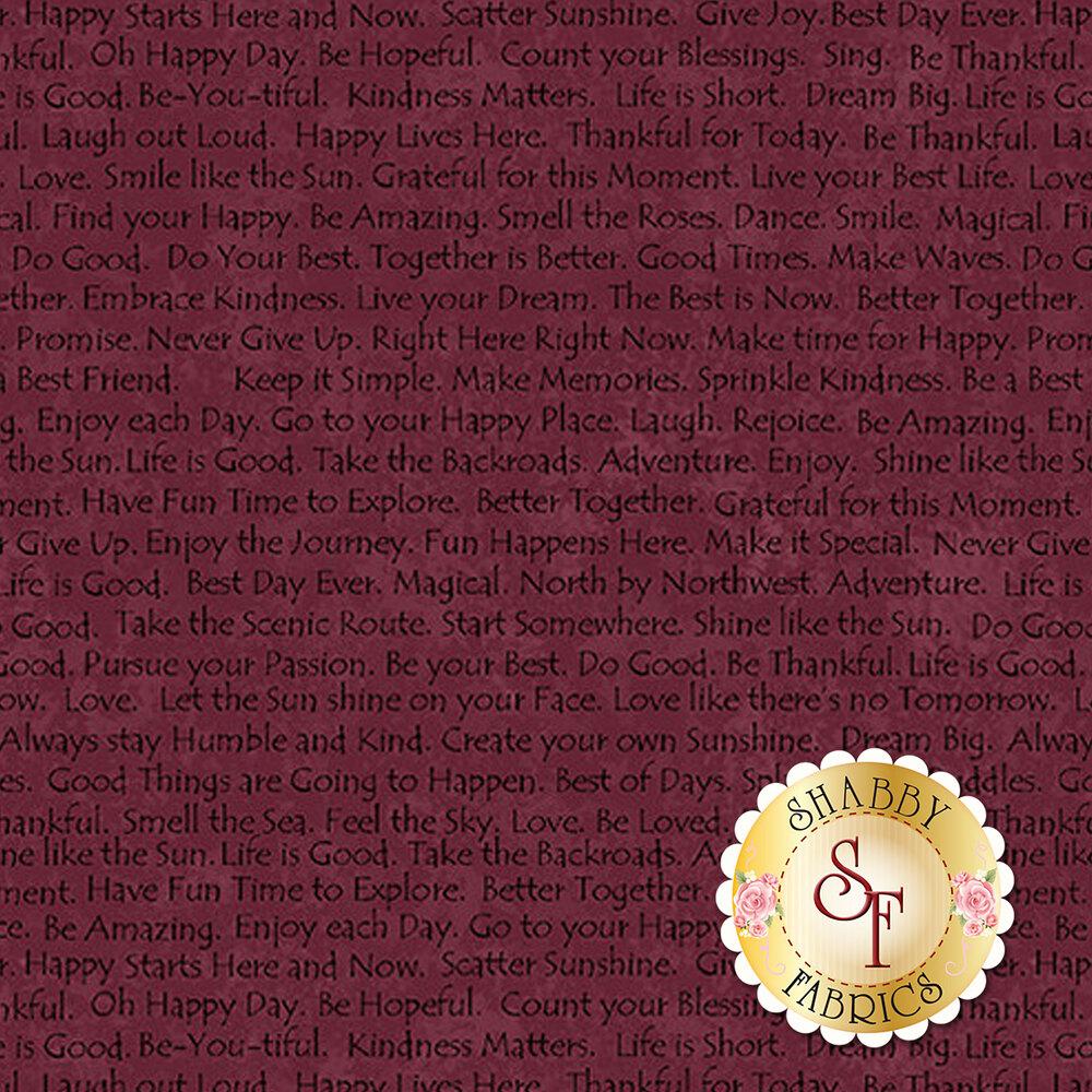 Dark purple words all over a mottled purple background | Shabby Fabrics