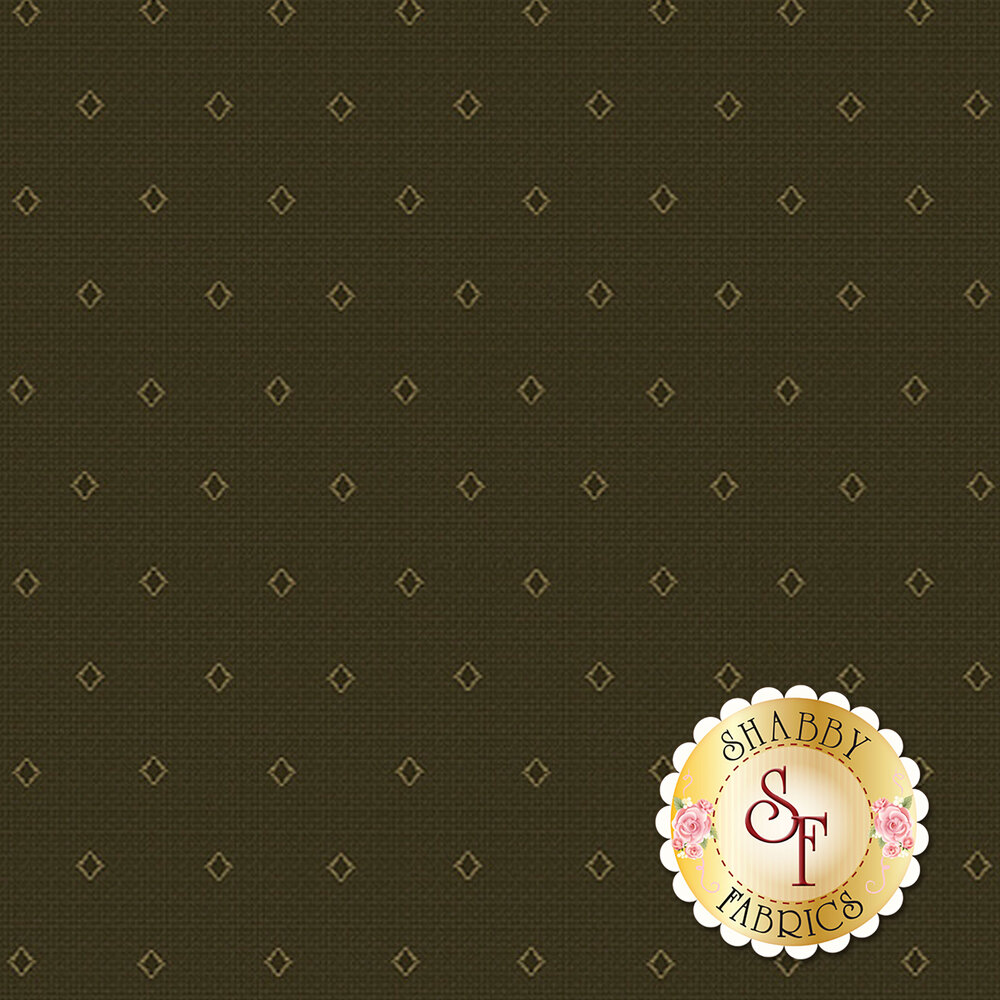 Gold diamond outlines on a green background | Shabby Fabrics