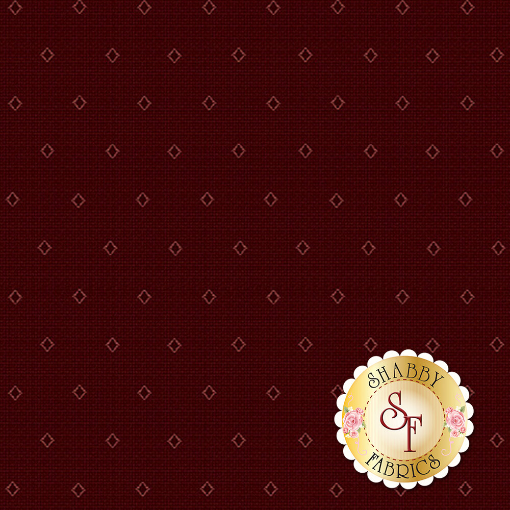 Light red diamond outlines on a dark red background   Shabby Fabrics