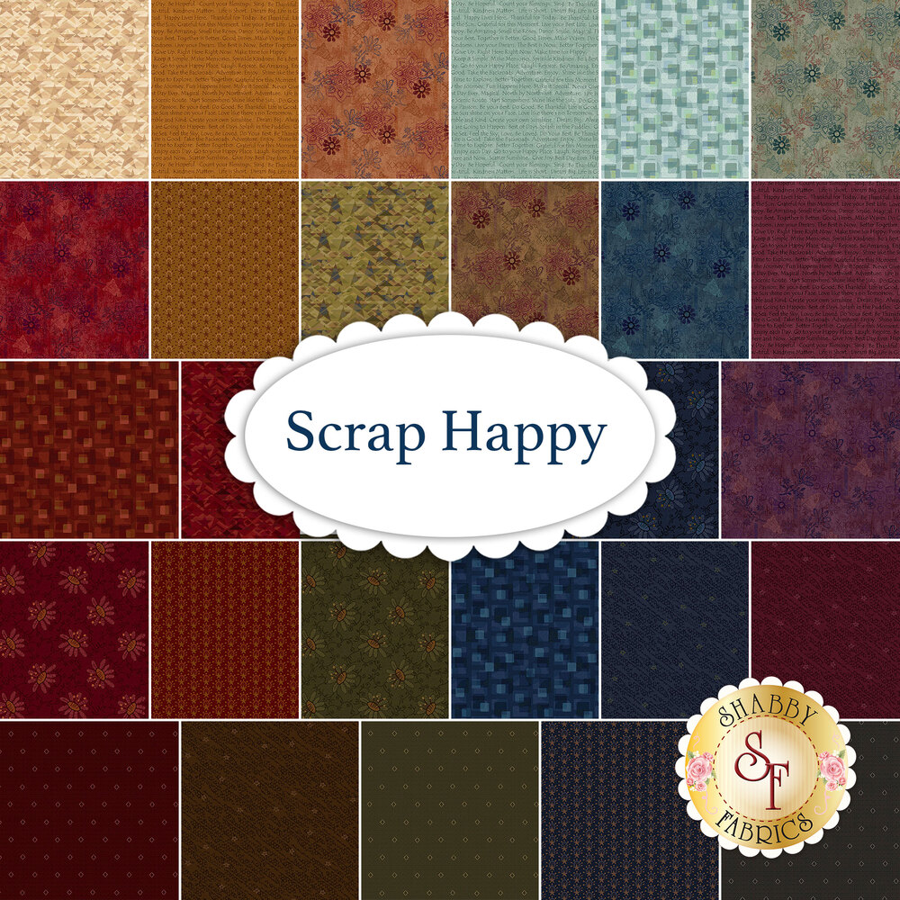 A collage of fabrics included in the Scrap Happy collection by Henry Glass Fabrics | Shabby Fabrics