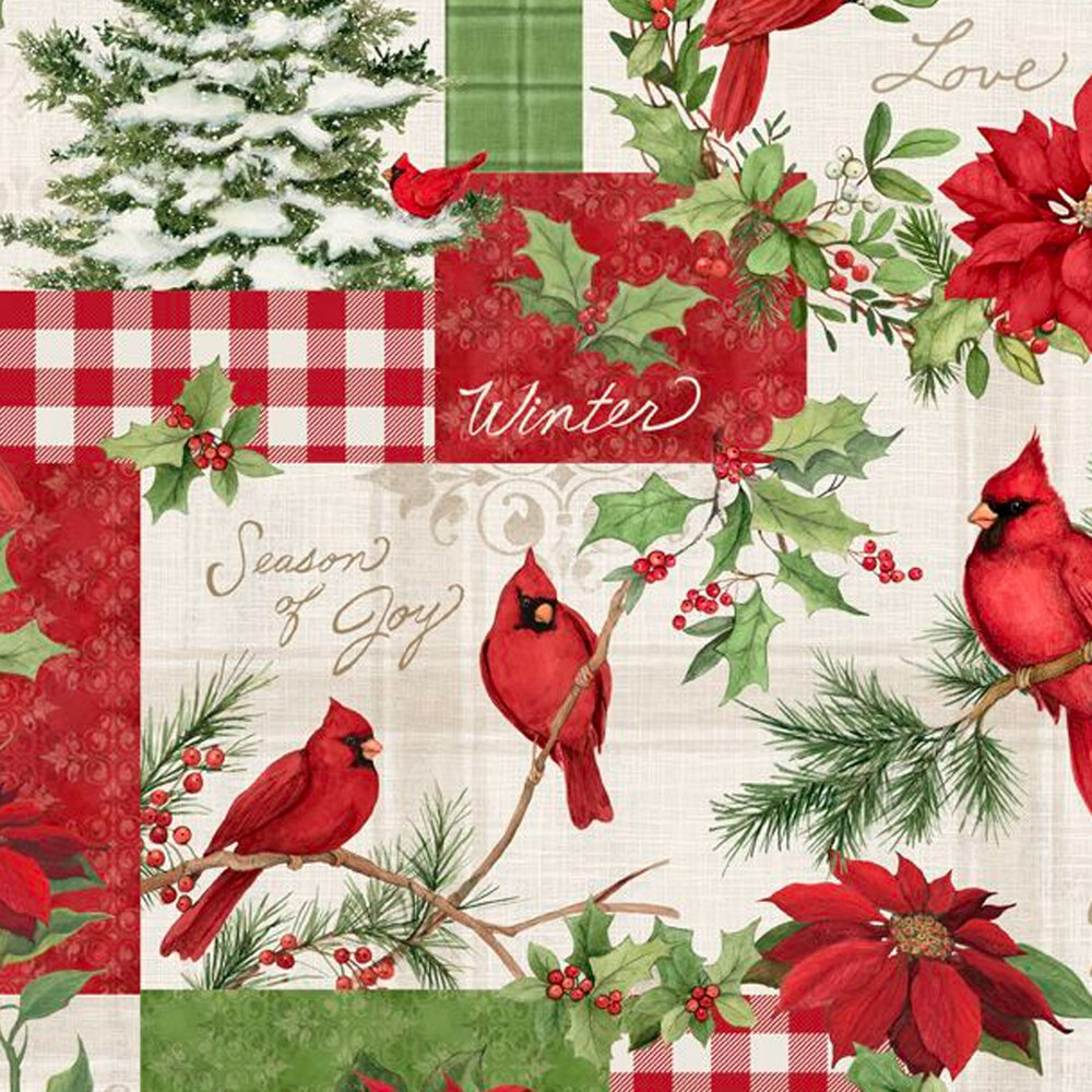 Patchwork with plaids, cardinals, and poinsettias all over cream | Shabby Fabrics