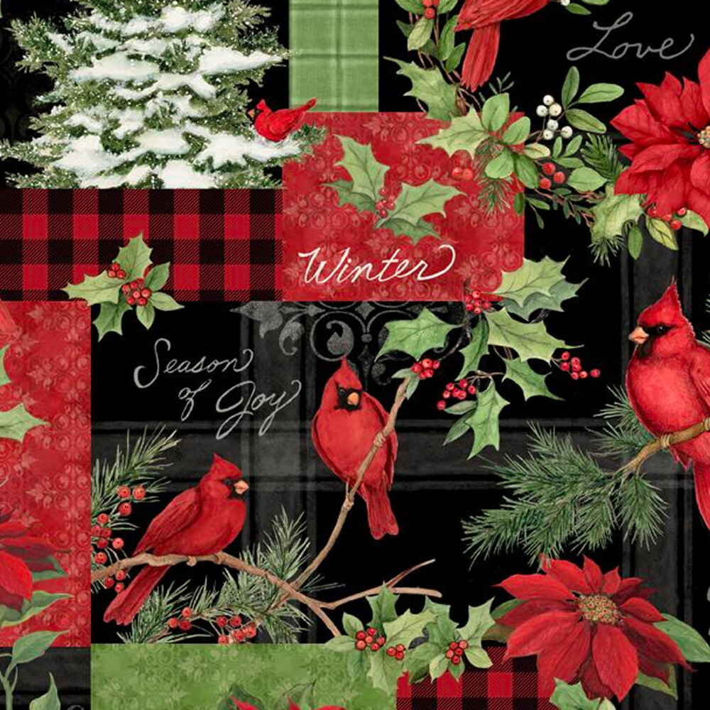 Patchwork with plaids, cardinals, and poinsettias all over black | Shabby Fabrics