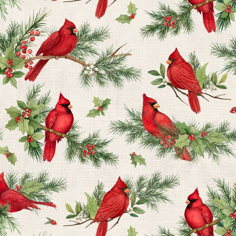 Cardinals on branches all over cream | Shabby Fabrics
