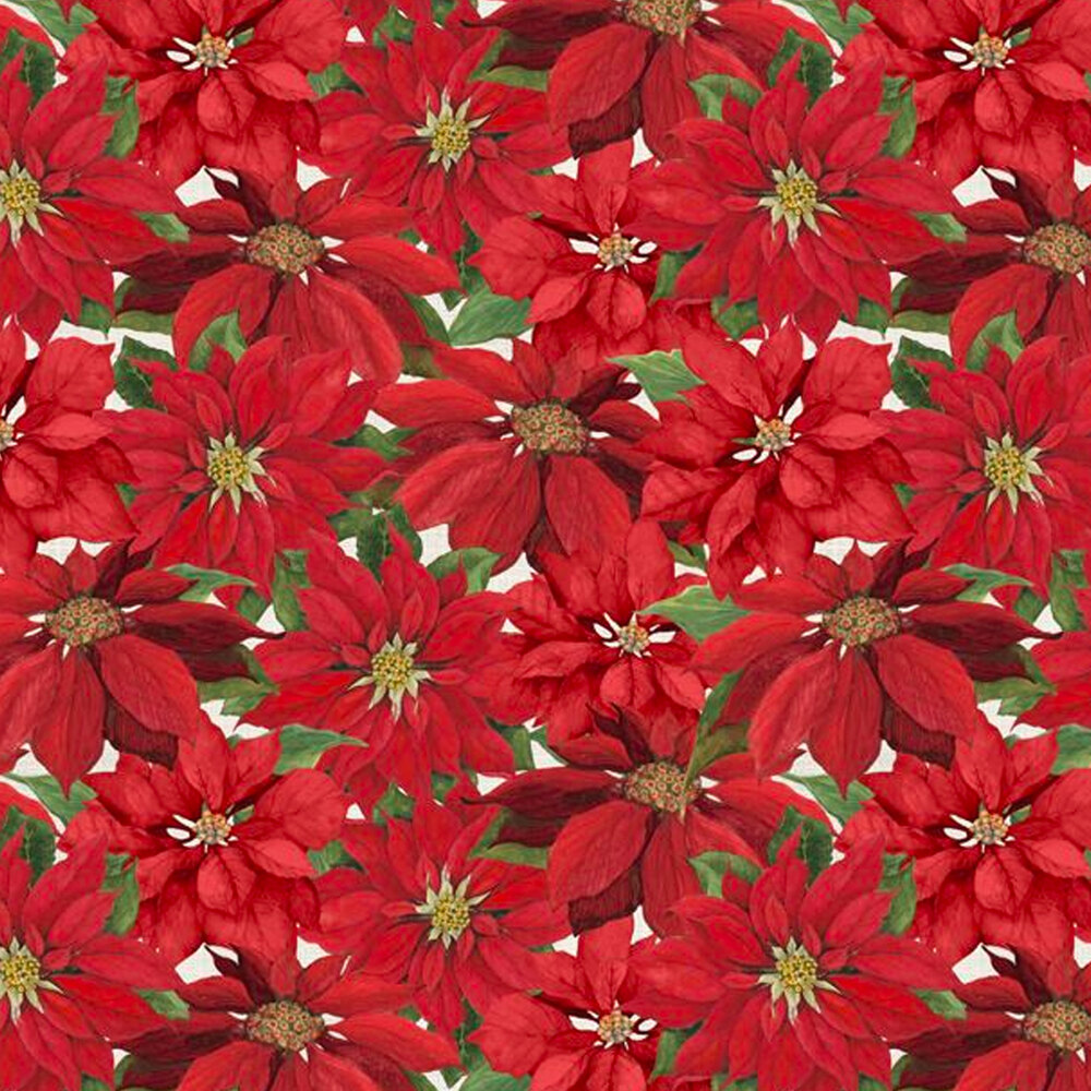 Clustered red poinsettias all over cream | Shabby Fabrics