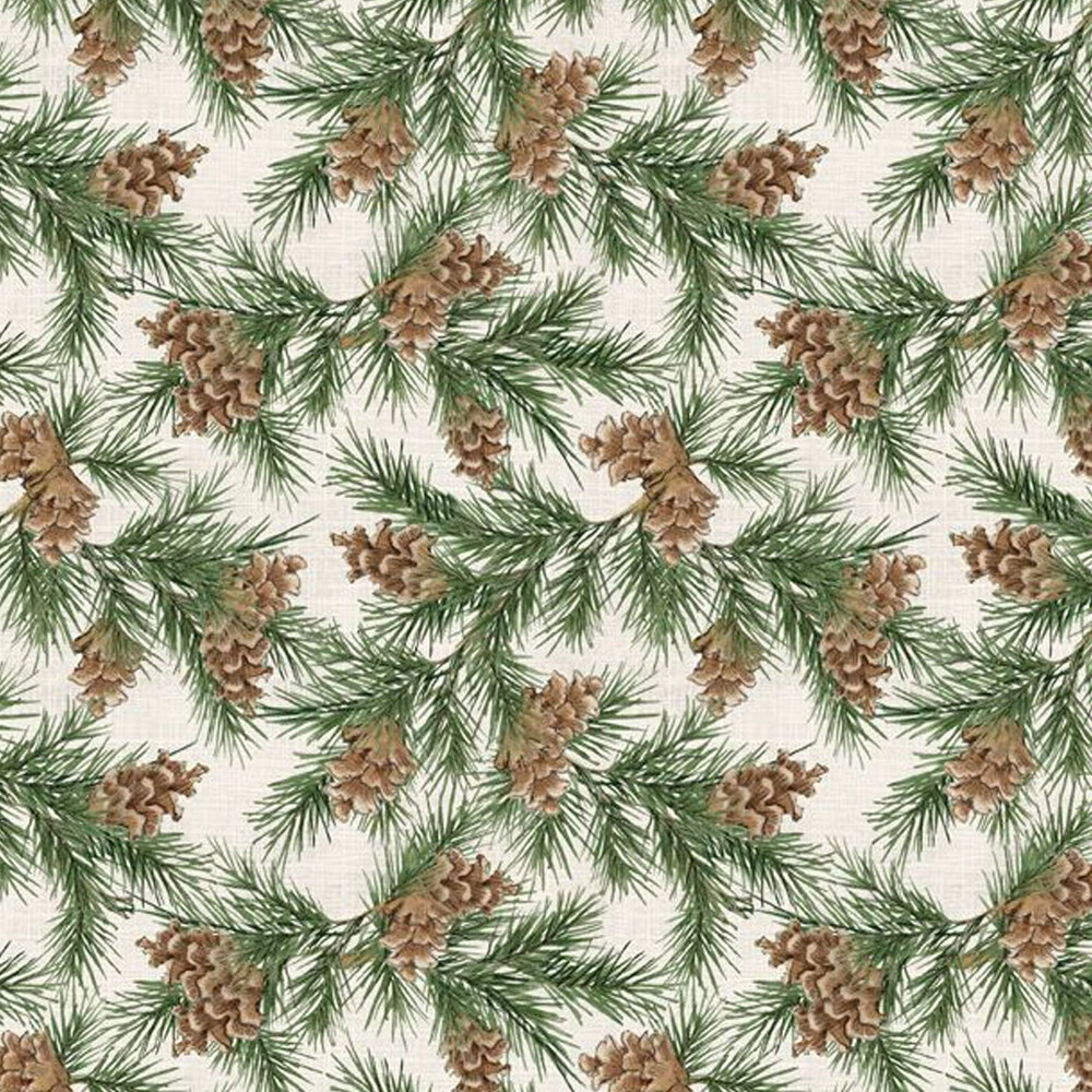 Tossed pine tree branches with pinecones all over cream | Shabby Fabrics