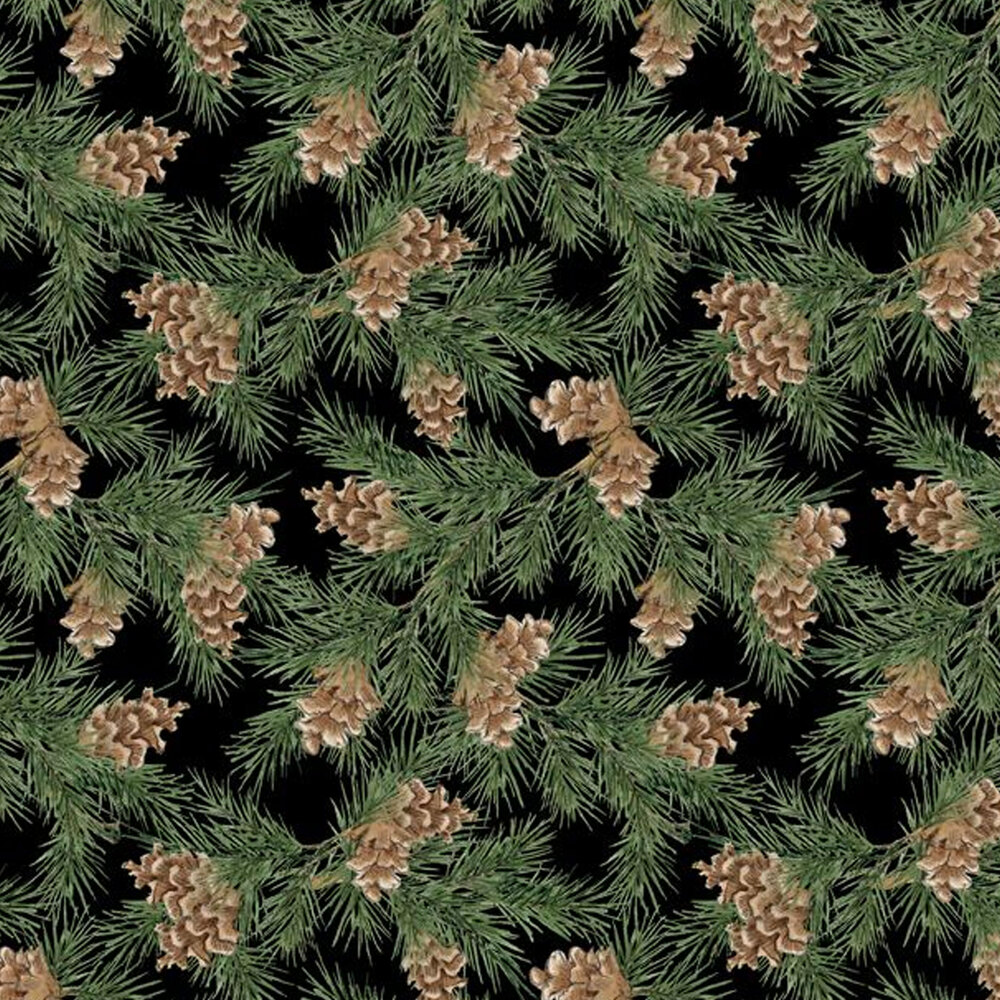 Tossed pine tree branches with pinecones all over black   Shabby Fabrics