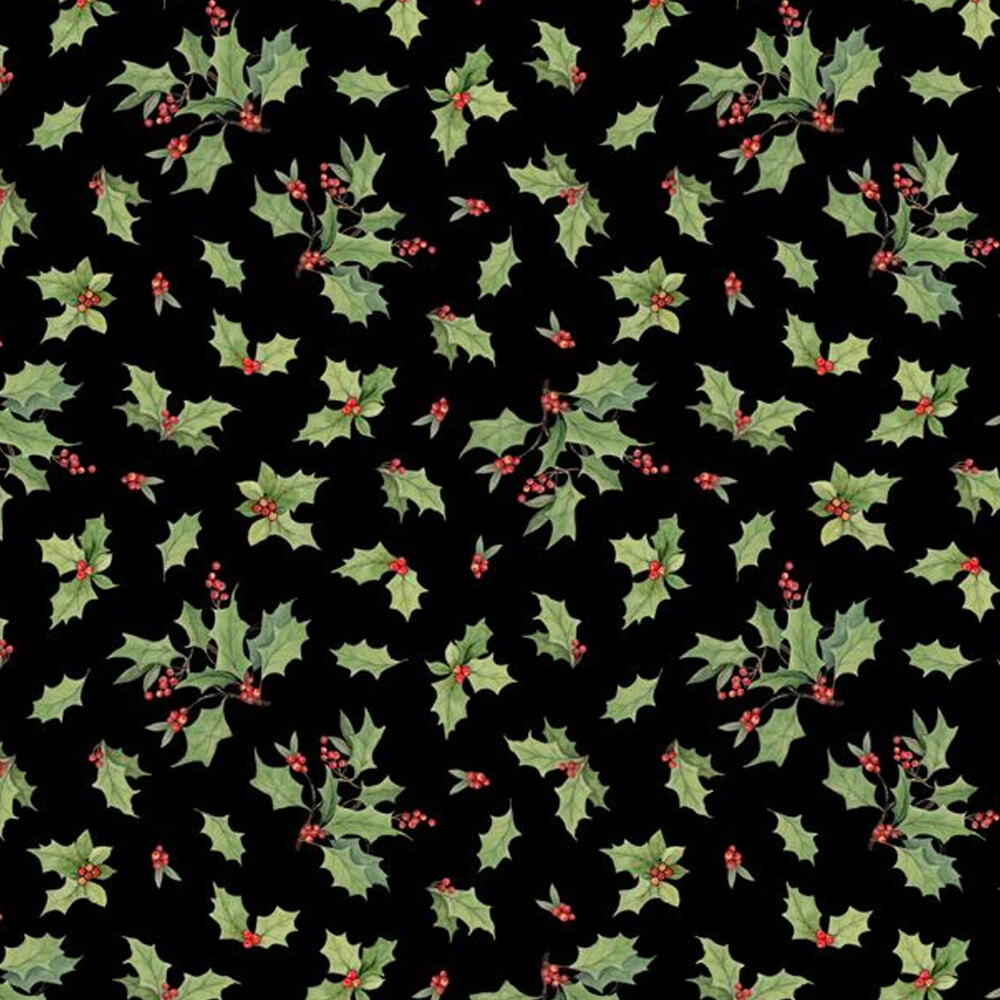 Tossed holly all over textured black | Shabby Fabrics