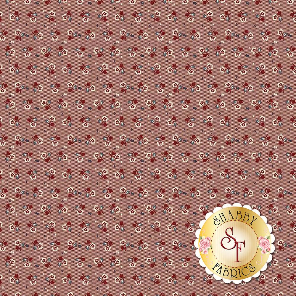 Small ditsy flowers on red | Shabby Fabrics