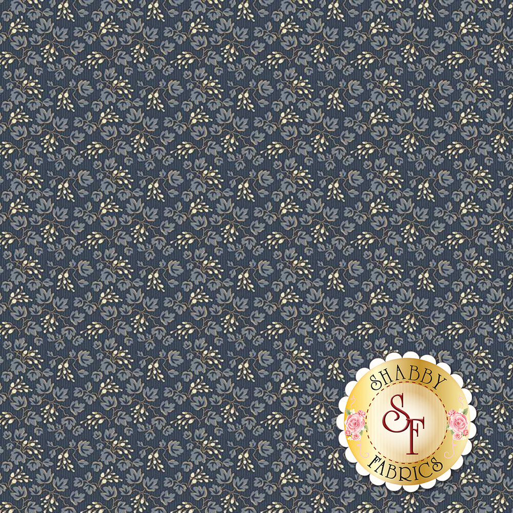 Blue leaves all over blue | Shabby Fabrics
