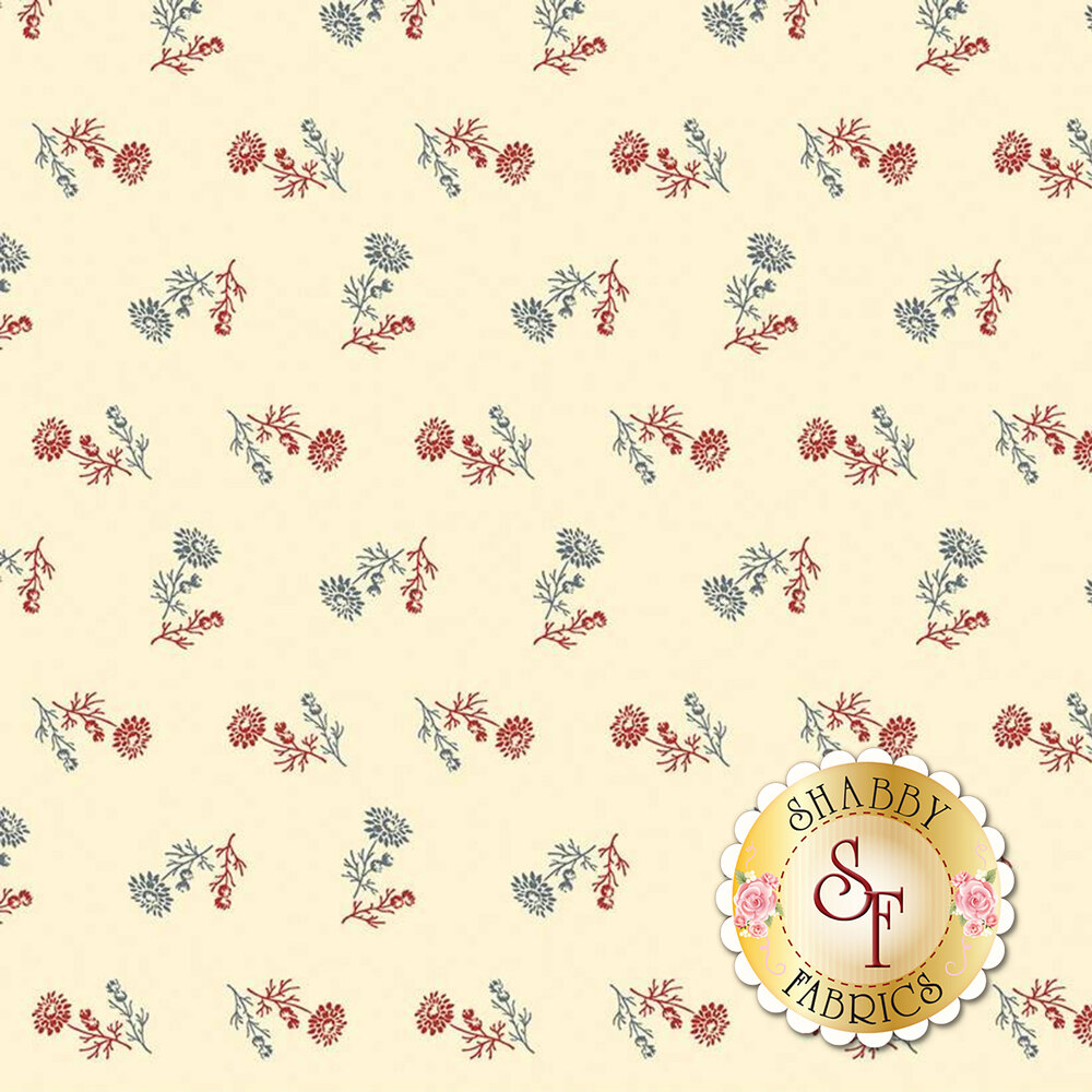 Ditsy blue and red floral on cream | Shabby Fabrics