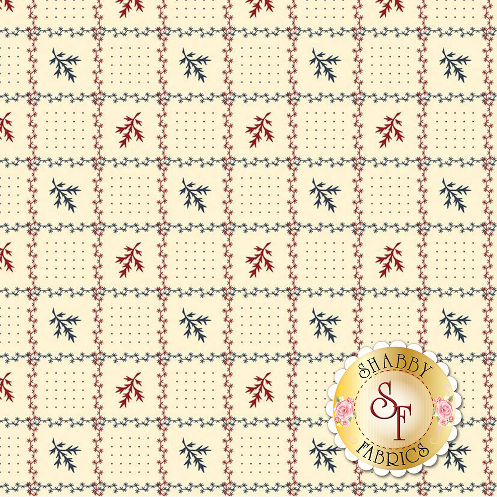 Red and blue geometric floral on cream | Shabby Fabrics