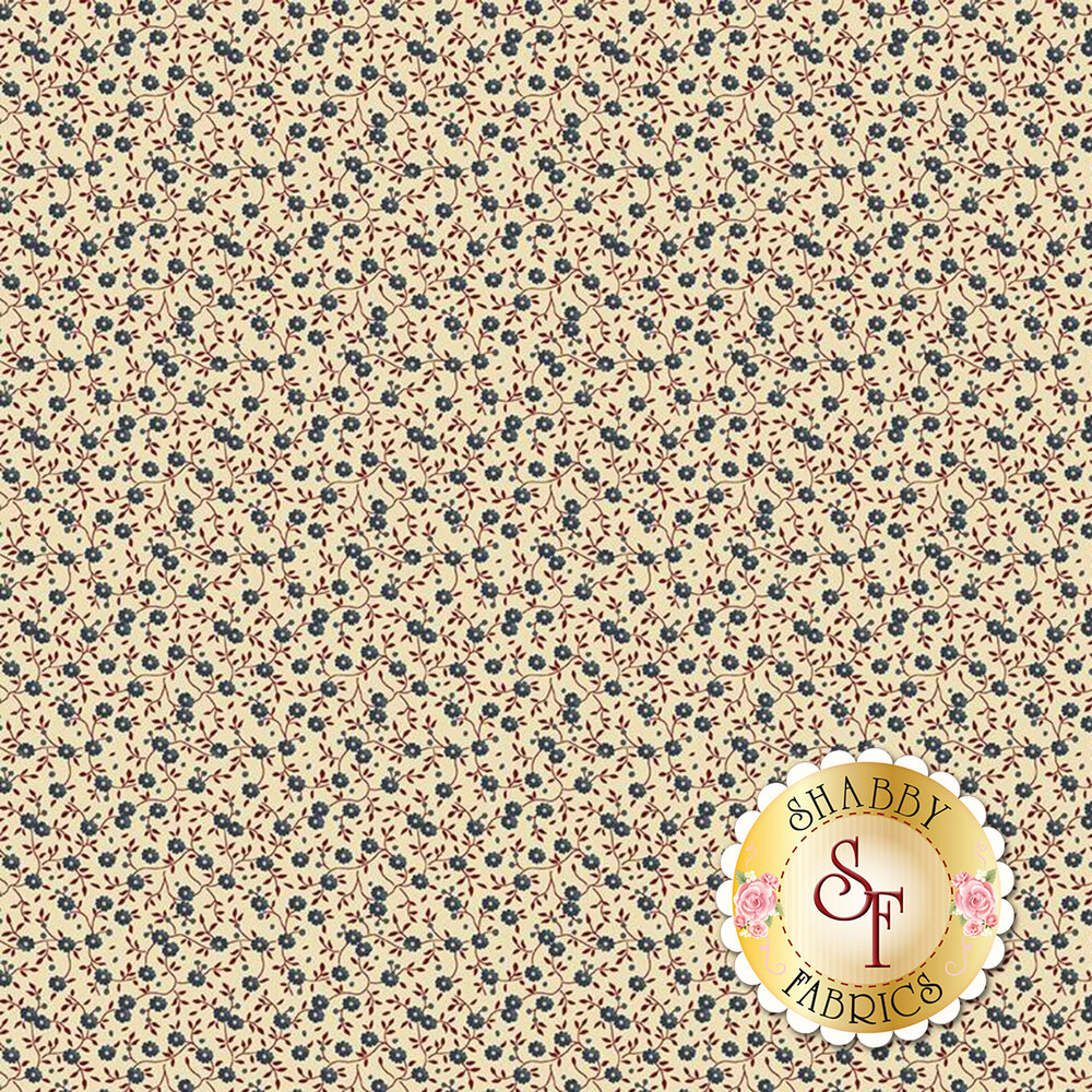 Blue flowers with red vines on cream | Shabby Fabrics