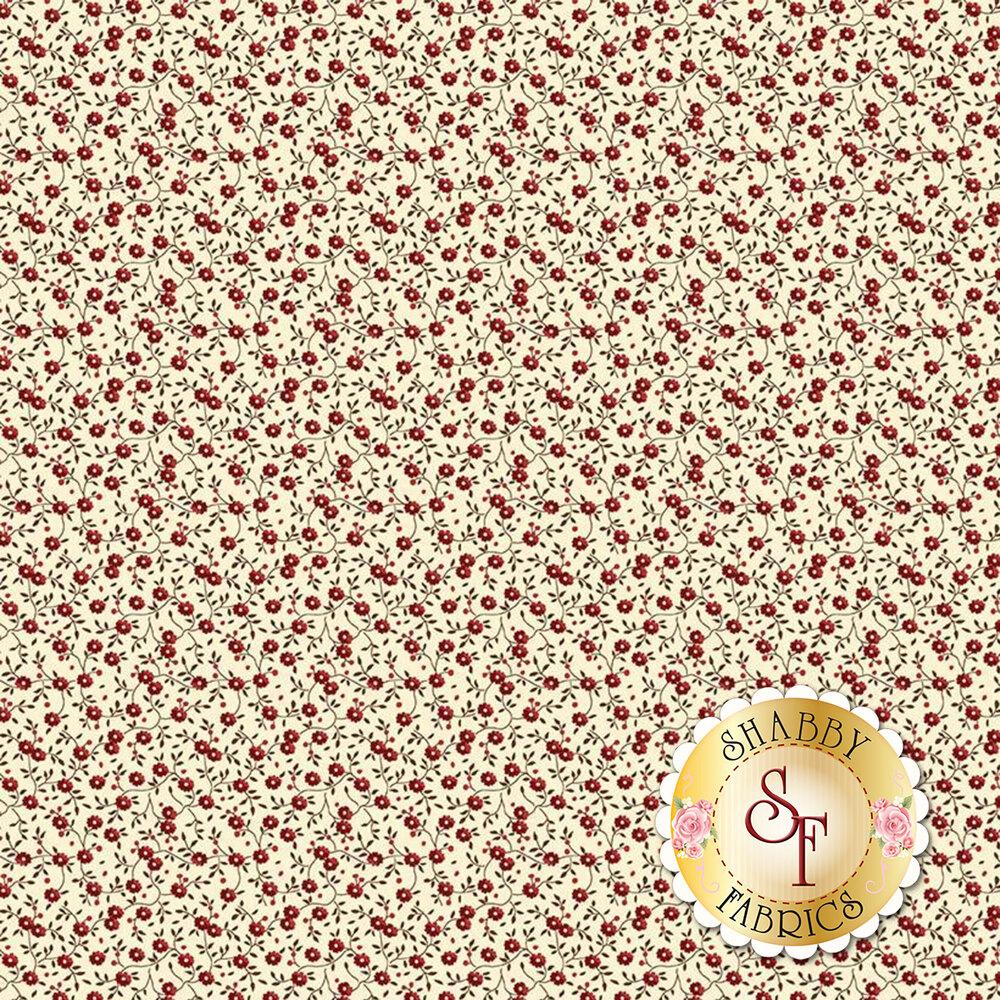 Red flowers with vines on cream | Shabby Fabrics