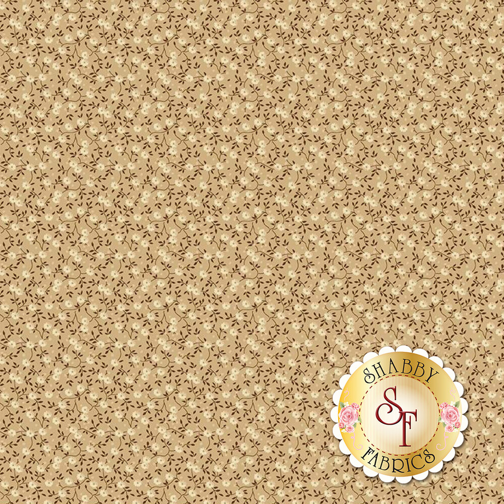 Crean flowers with brown vines on tan | Shabby Fabrics