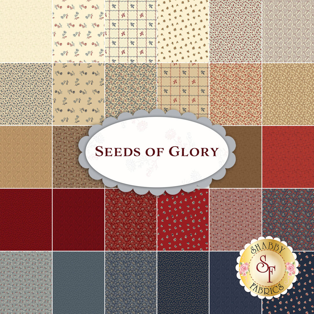 A collage of fabrics included in the Seeds of Glory collection | Shabby Fabrics