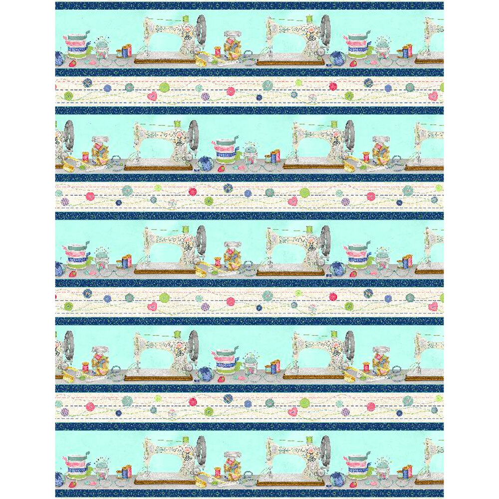 Border stripe with cream and teal stripes with crafting supplies and sewing machines