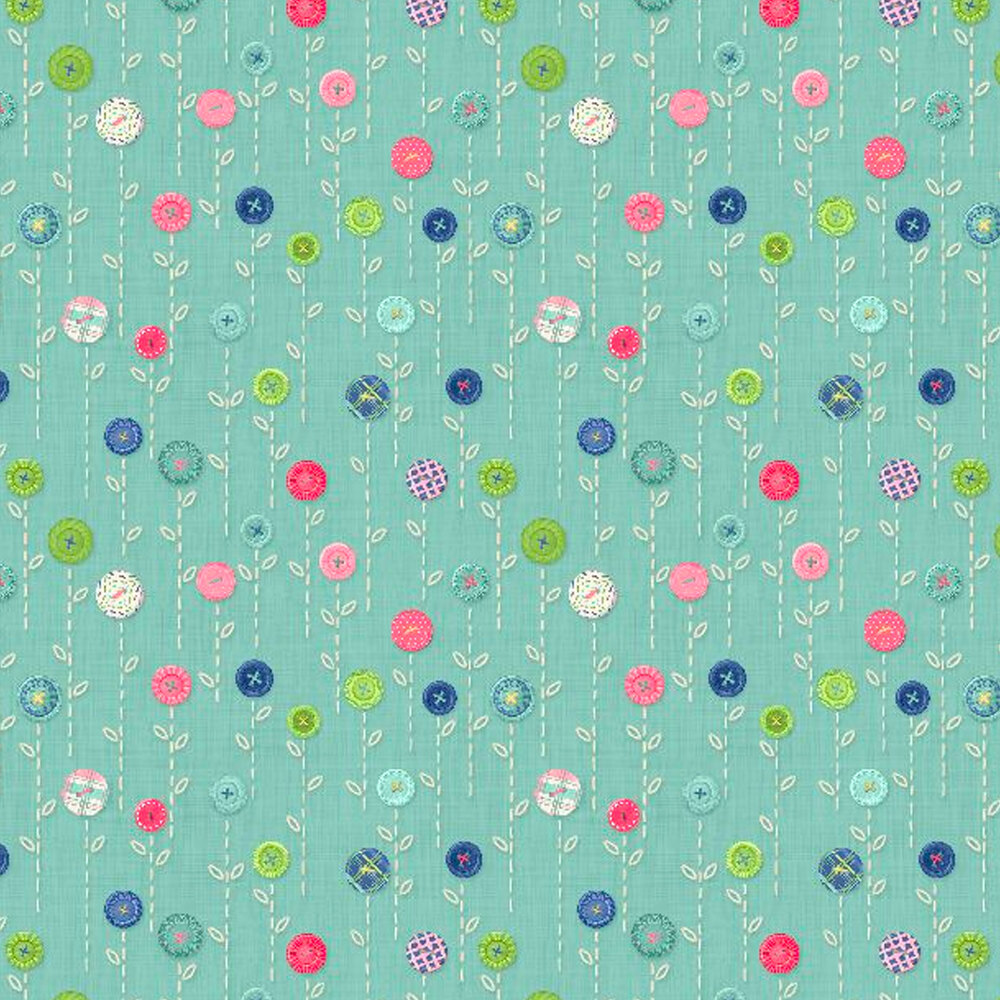 Small flowers made of buttons on a teal background