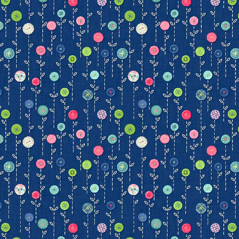 Small flowers made of buttons on a blue background