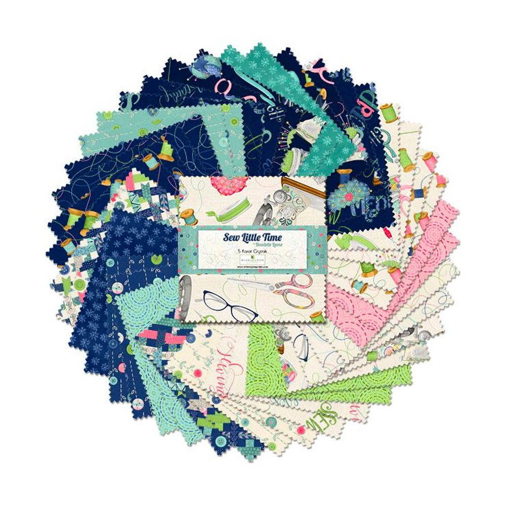 A collage of the fabrics in the Sew Little Time 5 inch squares