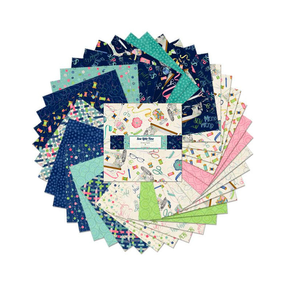 """A collage of fabrics included in the Sew Little Time 10"""" Squares"""