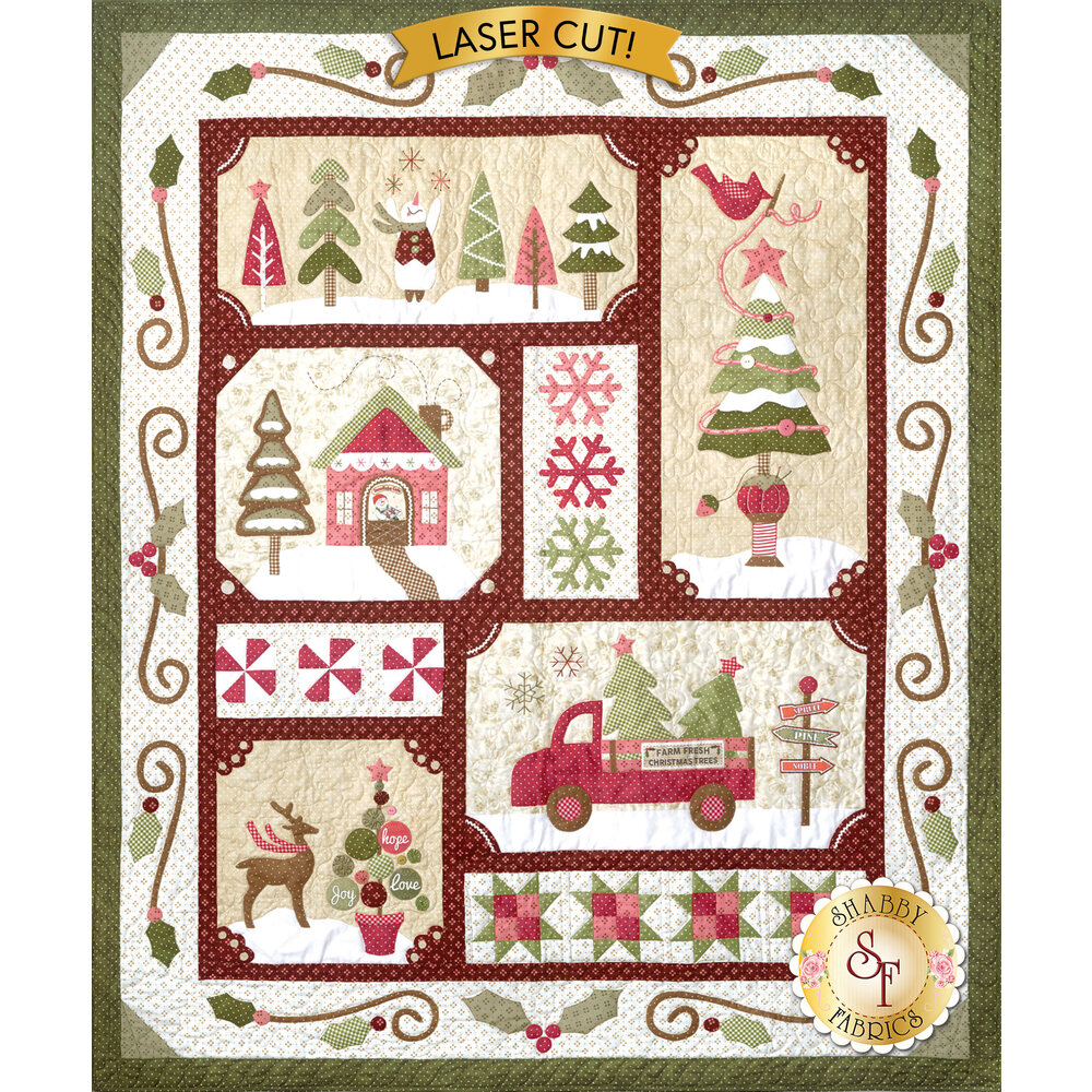 Completed Sew Merry Laser-Cut Quilt featuring 5 blocks each with a different Christmas scene