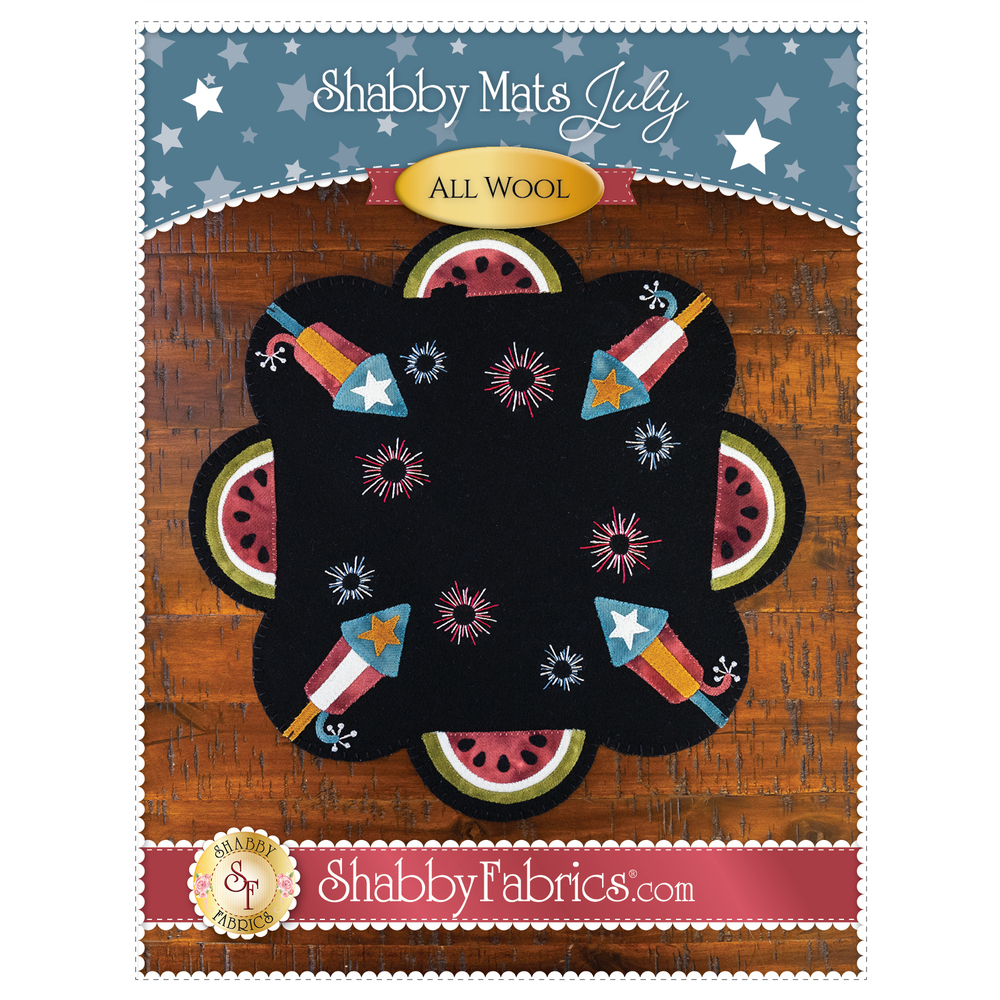 The front of the Shabby Mats - July - Pattern showing the finish Shabby Mats - July Kit product
