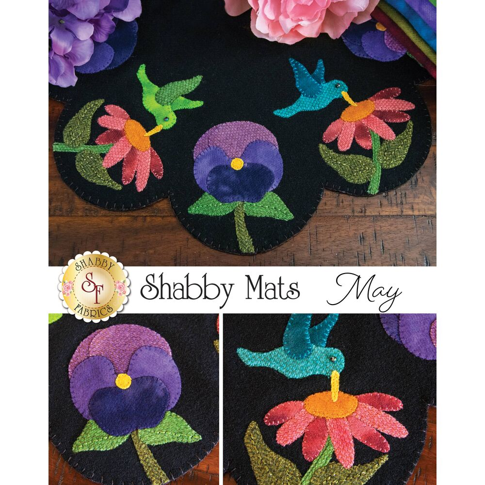 An image collage of the Shabby Mats May which features humming birds drinking from flowers