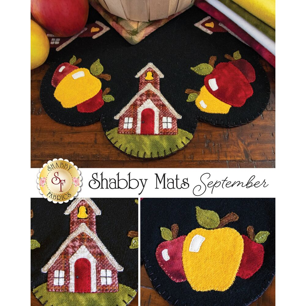 A collage of the finished wool mat showing details of the church and apples
