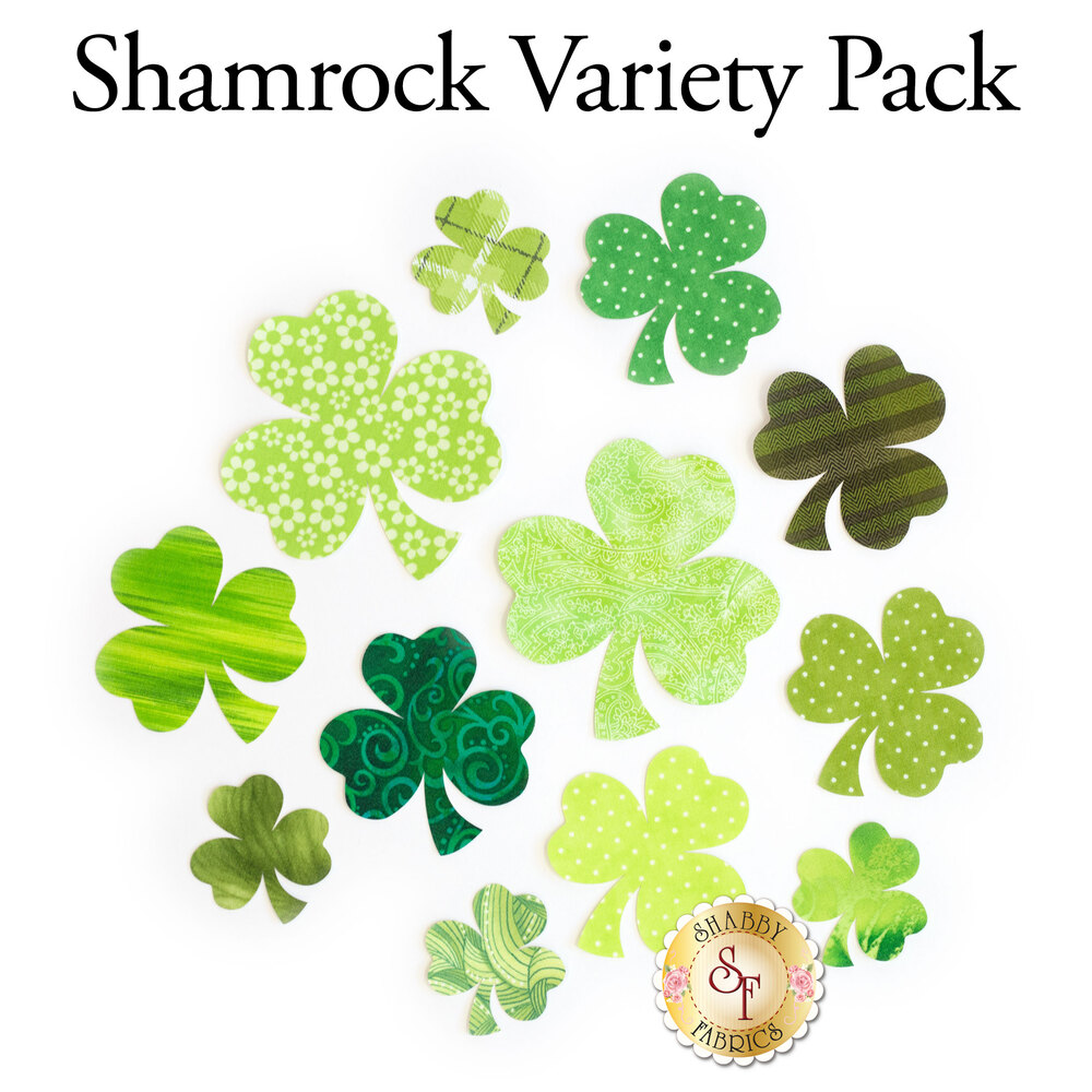 12 shamrock shapes in various sizes and multiple green print fabrics.