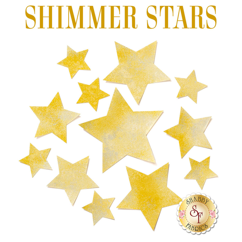 12 shimmer star applique shapes in gold shimmering fabric.