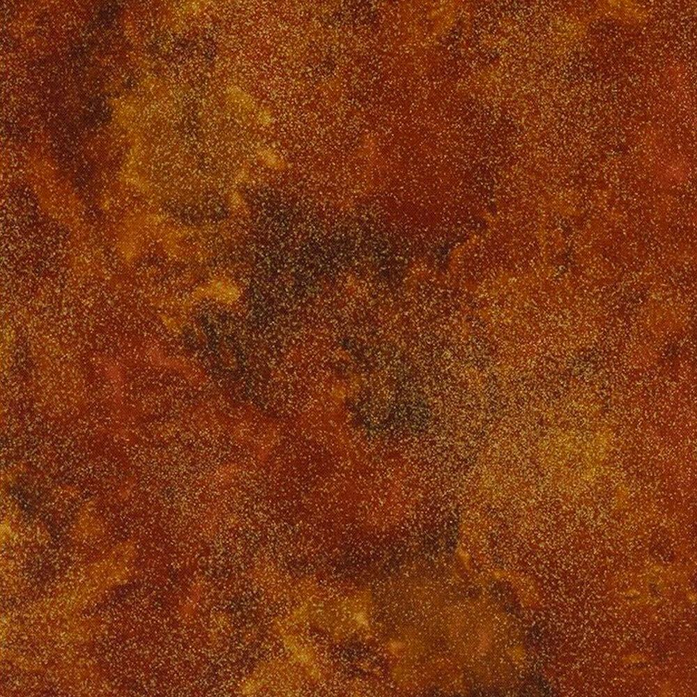 Burnt orange mottled fabric with metallic shimmer | Shabby Fabrics