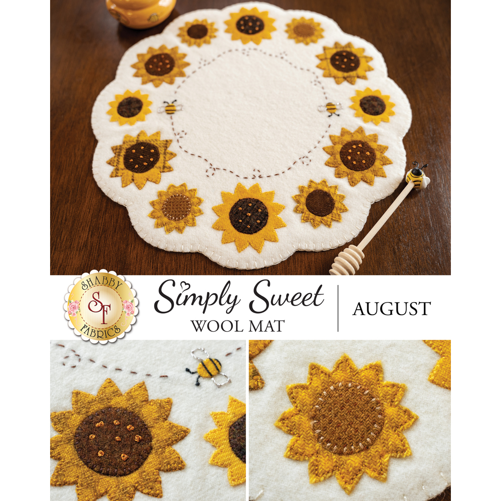 Circular wool mat with yellow sunflowers and two buzzing bees